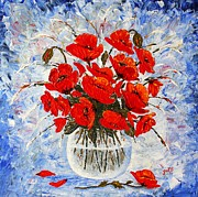 Red Poppies Paintings - Morning Red Poppies original palette knife painting by Georgeta Blanaru