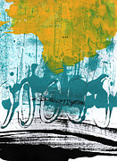 Transportation Mixed Media Prints - Morning Ride Print by Linda Woods