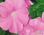 Pink Flower Prints Painting Posters - Morning Rise Painting Poster by Lisa Bentley
