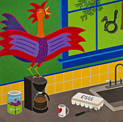 Kitchen Window Paintings - Morning Roost by Kort Duce