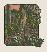 Linocut Prints - Morning Run on The Wildwood Trail Print by Mitch Frey