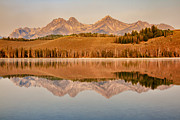 Haybales Art - Morning Sawtooth Reflections by Robert Bales