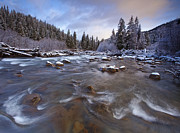 River Scenes Photo Prints - Morning Snowlight Print by Darren  White