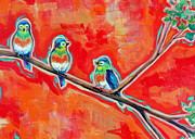 Little Birds Paintings - Morning Song by Dawn Gray Moraga