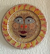 Round Glass Art - Morning Sun 1 by Rosa Cardenas