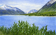 Watercolor Landscapes Posters - Morning Sun on Kenai Lake Poster by Sharon Freeman