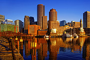 Boston Harbor Posters - Morning Sun on the Harbor Poster by Joann Vitali