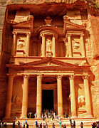 Jordan Trail Framed Prints - Morning Sun on the Treasury in Petra-Jordan Framed Print by Ruth Hager