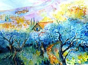 Italian Landscapes Paintings - Morning Sunrise in a Tuscan Olive grove by Trudi Doyle