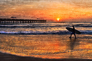 Surf Silhouette Metal Prints - Morning Surf Metal Print by Debra and Dave Vanderlaan