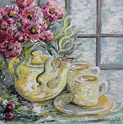 Vase Framed Prints - Morning Tea for Two Framed Print by Eloise Schneider