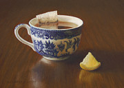 Pattern Pastels Prints - Morning Tea with Lemon Print by Barbara Groff