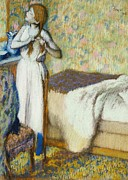 Nightdress Posters - Morning Toilet Poster by Edgar Degas