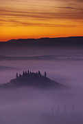 Tuscan Hills Metal Prints - Morning Tuscan Mist Metal Print by Andrew Soundarajan