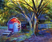 Shed Painting Posters - Mornings Garden Barn  Poster by Joose Hadley