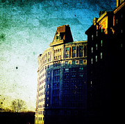 Nyc Digital Art Metal Prints - Morningside Heights Blue Metal Print by Natasha Marco