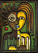 Tribal Art Paintings - Moroccan city lovers - African tribal mask by Rosemary Lim