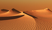 Inhospitable Prints - Moroccan desert landscape with orange sky. Dunes background Print by Bijan Habashi