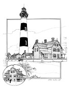 Featured Drawings Posters - Morris Island Lighthouse Poster by Ira Shander