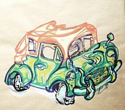 Coupe Drawings Acrylic Prints - Morris Minor Acrylic Print by Godfrey McDonnell