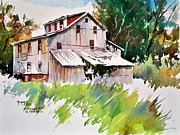 Grist Mill Paintings - Morrison Mill Burnt Prairie Illinois by Spencer Meagher