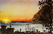 Travel Sketch Prints - Morro Bay - California Sketchbook Project Print by Irina Sztukowski