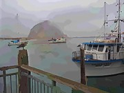 Boats In Water Mixed Media Framed Prints - Morro Bay Morning Fog Framed Print by Robert Wek