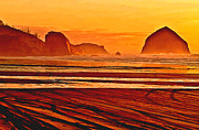 Rocky Shoreline Paintings - Morro Rock Painting by Nadine and Bob Johnston