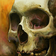 Mortality Framed Prints - Mortality Skull Painting Framed Print by Joel Wright