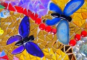 Birthday Glass Art Metal Prints - Mosaic Butterflies  Metal Print by Kathleen Luther