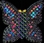 Black Glass Art Prints - Mosaic Butterfly light 2 dark version Print by Lisa Brandel