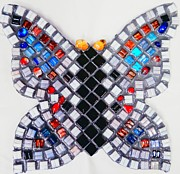 White Glass Art Posters - Mosaic Butterfly Poster by Lisa Brandel