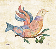 Jerusalem Paintings - Mosaic Dove by Michoel Muchnik