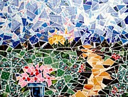 Garden Scene Mixed Media Metal Prints - Mosaic Garden Path Metal Print by Danise Abbott