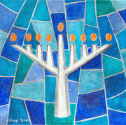 Menorah Paintings - Mosaic Hanukkiah Menorah by Cheryl Hymes