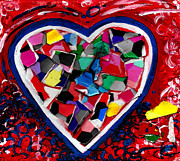 Mosaic Mixed Media Originals - Mosaic Heart by Genevieve Esson