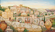 Jugs Framed Prints - Mosaic Jerusalem  Framed Print by Michoel Muchnik