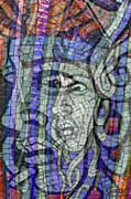 Medusa Mixed Media Metal Prints - Mosaic Medusa Metal Print by Tony Rubino