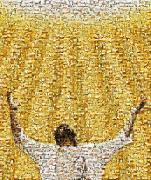 Raised Arms Posters - Mosaic Of A Jesus Christ Poster by Kelly Redinger
