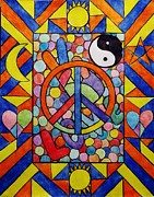 Mosaic Drawings - Mosaic Peace Out by Carol Hamby