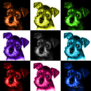 Schnauzer Puppy Digital Art - Mosaic Salt and Pepper Schnauzer Puppy 7206 F - v1 by James Ahn