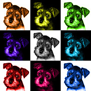 Schnauzer Puppy Digital Art - Mosaic Salt and Pepper Schnauzer Puppy 7206 F - v2 by James Ahn