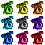 Schnauzer Puppy Digital Art - Mosaic Salt and Pepper Schnauzer Puppy 7206 F - wb by James Ahn
