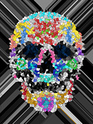 Scull Posters Photos - Mosaic scull by Mauro Celotti