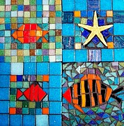 Tiles Glass Art Posters - Mosaic Sea Life Poster by Kathleen Luther