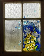 Mosaic Stained Glass - Dragonfly In The Window Print by Catherine Van Der Woerd