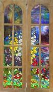 Mosaic Stained Glass - Flower Garden Print by Catherine Van Der Woerd