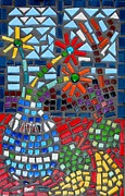 Fruit Still Life Glass Art Posters - Mosaic Still Life Poster by Caroline Street
