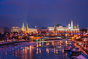 Moscow Kremlin And Big Stone Bridge At Winter Night - Featured 3 Print by Alexander Senin