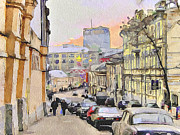 Stimulation Digital Art Framed Prints - Moscow Old Streets 3 Framed Print by Yury Malkov